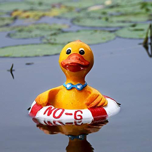QWERTOUY Nette Harz Schwimmende Ente Schwimmen Statue Outdoor Gartenteich Fischerei Tank Dekorative Skulptur Für Hausgarten Decor Ornament