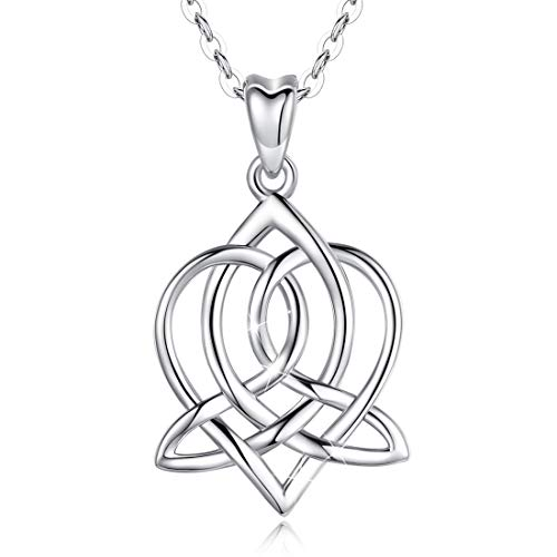LOOVE Celtic Love Knot Good Luck Necklace Sterling Silver Irish Heart Pendant Infinity Jewelry with 18 Inches Chain, Gifts for Her Women Couple