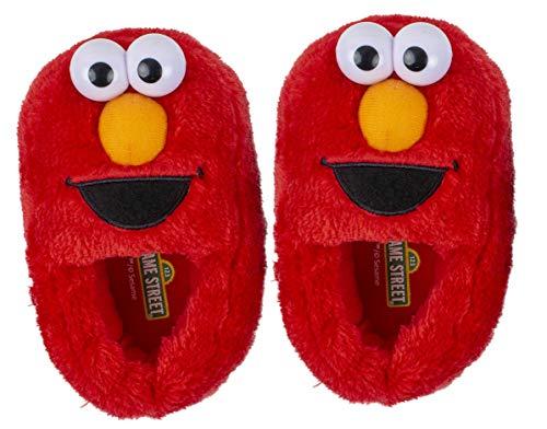 Sesame Street Elmo Slippers, Easy Slip On Plush Slippers (3-4 M US Toddler, Red Full Body Elmo)