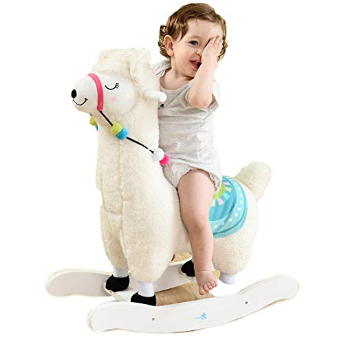 White Alpaca Baby Plush Rocker Toys, Plush Wooden Riding Horse for 1-3 Years Boy & Girl, Toddler Outdoor & Indoor