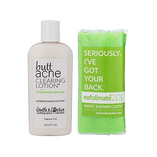 Brilliant Booty Kit | Butt Acne Clearing Lotion and ExfoliMATE Magic Body Exfoliating Cloth for Soft & Young Skin (Green) by Green Heart Labs