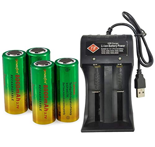High Power Battery, 4-Pack 3.7 Volt RCR123A 8000mAh 26650 Flat Top Rechargeable Battery for LED Torch, Flashlight and More & 1-Pack 2 Slots USB Universal Smart Battery Charger