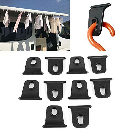 Kuuleyn RV Markisenhaken, 10 Stück Schwarz 5 mm Tragbare Markisenhaken Aufhänger Organizer Rack für RV Wohnmobil Camper