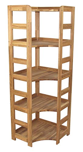 Praktisches Regal Beethoven, 168x56x56cm, hohes Eckregal, Echtholz Eiche geölt, für Wohnzimmer, Büro oder Kinderzimmer