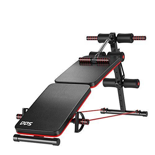 HOMCOM Banc de Musculation Pliable Multifonction Banc Fitness Sit-up Sangles d extension latérales + Ressort Traction Acier revêtement synthétique Rouge Noir