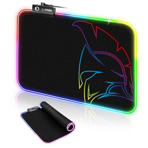 EMPIRE GAMING - Dark Rainbow Tappetino Mouse Gaming-modalità di Illuminazione LED RGB 12- Mouse Pad da Gioco Retroilluminazione-Resistente all'Acqua-Gomma Antiscivolo-per PC,Mac e Laptop-300×230×4 mm
