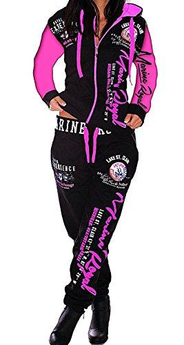 Damen-Jogginganzug Marine, Schwarz-Pink (Arme)