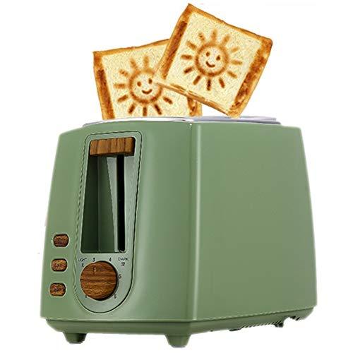 BWCX 2 Scheiben Toaster mit 6 Browning Setting Smiley-Muster und kleines Sonnenmuster,Green
