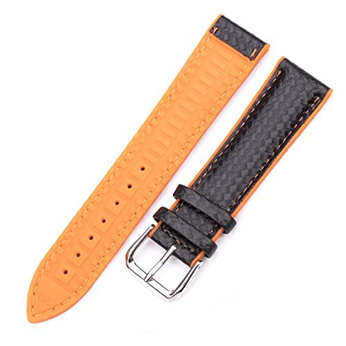 ZRNG Nuevo Cuero + Goma Relojes de Relojes Mujeres Hombres Amarillo Naranja Negro 18 20 22mm Reloj Correa Brazalete Pulsera con Hebilla de Pin (Band Color : Orange, Band Width : 20mm)