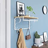 VASAGLE Wandgarderobe Garderobenhaken Wandregal mit 5 Haken, Hakenleiste mit Hängestange, für Flur, Schlafzimmer, Badezimmer und Wohnzimmer, 60 31,7 30 cm, Eiche, Weiß LCR11WY - 4