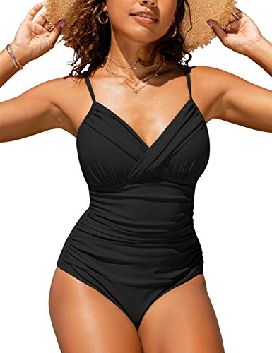 Hilor Women's One Piece Swimsuits Front Twist Swimwear V Neck Shirred Bathing Suit Monokini Black 10