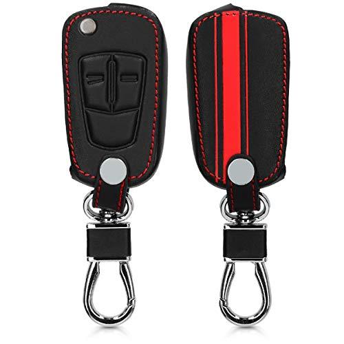 kwmobile Autoschlüssel Hülle kompatibel mit Opel Vauxhall 2-Tasten Klappschlüssel Autoschlüssel - Kunstleder Schutzhülle Schlüsselhülle Rallystreifen Sidelines Rot Schwarz
