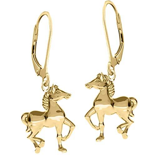 Kinder Brisur Pferde Ohrhänger Creolen Sterlingsilber 925 Echt Silber Gold Ohrringe Mädchen (A116 Gold)