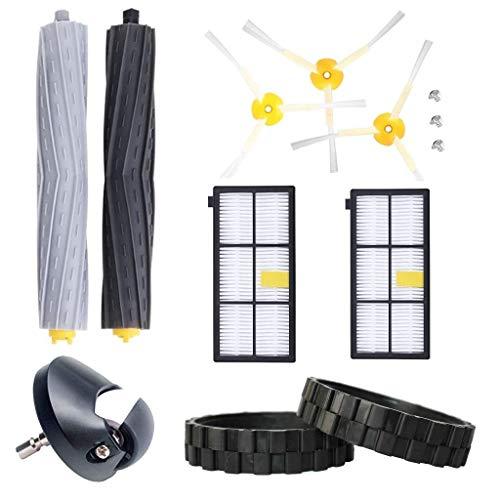 EPIEZA Kit de Neumaticos + Rueda Central + Cepillos + Rodillos + Filtros. Repuestos Accesorios para Aspiradoras iRobot Roomba Serie 800 y 900 Pack de 13 uds