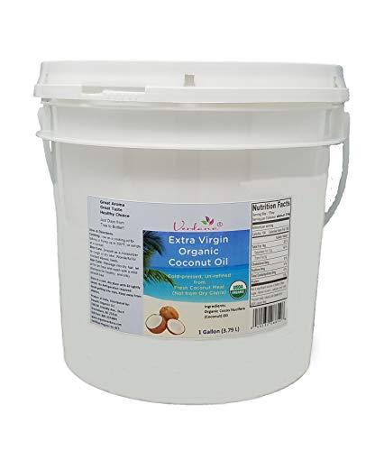 Verdana Extra Virgin Organic Coconut Oil, Unrefined, Cold Pressed, for Baking, Cooking, Popcorn, for Hair, Skin, Heels – 1 Gallon, 32 Fl Oz, 16 Fl Oz