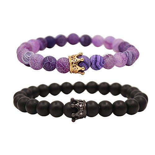 UEUC King&Queen Crown Distance Couple Bracelets His Hers Black Matte Agate 8mm Beads Bracelet