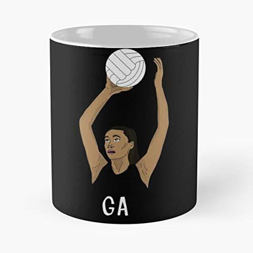 Deporte Helechos Ataque Netball Netballers Equipo Netballer Portería Plata Mejor 11oz Cerámica Café Taza Personalizar