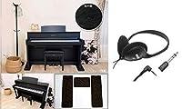 【電子ピアノ 騒音対策 セット】 電子ピアノ専用マット 3PointsMat + KORG コルグ ヘッドホン KH-60M 【変換プラグ付きで標準/ミニプラグ共に対応!】 (BK ブラック)