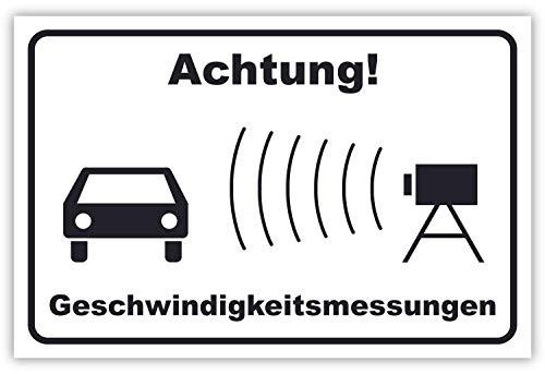 SCHILDER HIMMEL apassbares Achtung Geschwindigkeitsmessung Schild 30x21cm Kunststoff, Nr 232 eigener Text/Bild verschiedene Größen/Materialien