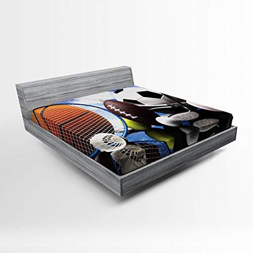 Lunarable Sports Fitted Sheet, Sports Equipment Football Soccer Darts Ice Hockey Baseball Basketball Theme, Soft Decorative Fabric Bedding All-Round Elastic Pocket, Full Size, Orange Black