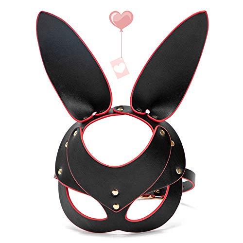 Rogue Rabbit Copricapo Giocattoli alternativi Coniglietto dalle orecchie lunghe Benda Misteriosa Cappuccio in pelle Performance sul palco per adulti Puntelli Cosplay Costume di carnevale di Halloween