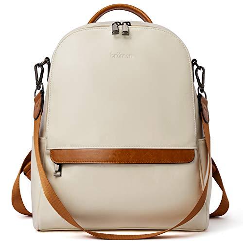 BROMEN Backpack Purse for Women Leather Anti-theft Travel Backpack Fashion College Shoulder Handbag Beige with Brown