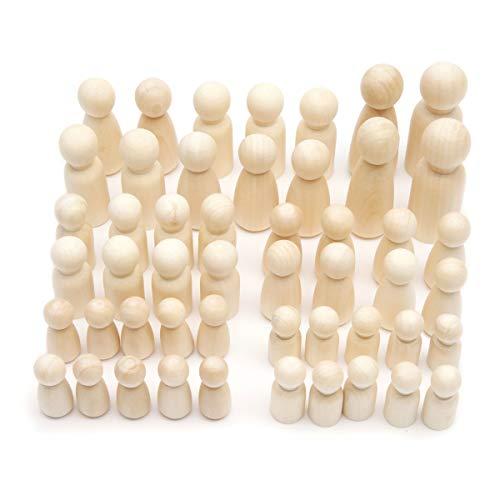 Anladia 50 Stück Holzkegel Holzfiguren mit AufbewahrungsBox Unvollendete Spielfiguren DIY Figuren Männchen Mädchen Kindern