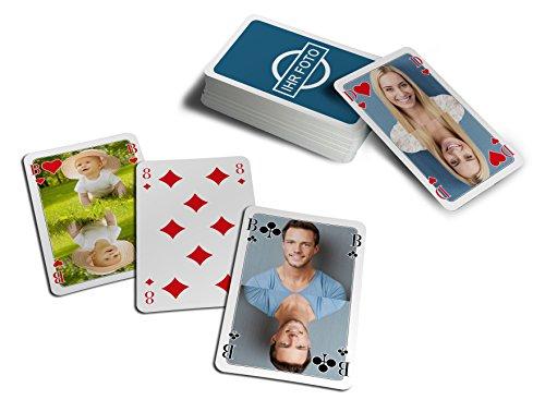 MEINSPIEL Foto-Doppelkopf-Karten - Doppelkopfkarten mit eigenen Fotos Bedrucken / Ihre Bilder auf Allen Figuren- & Zahlenkarten / individuelles Kartenspiel & Fotogeschenk für die ganze Familie
