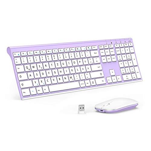 Jelly Comb Kabellose Tastatur und Maus Set, 2.4G Wireless Ultra dünn Tastatur und Flache Maus, Wiederaufladbare Funktastatur mit Deutschem Layout für PC, Laptop, Smart TV, Lila und Weiß