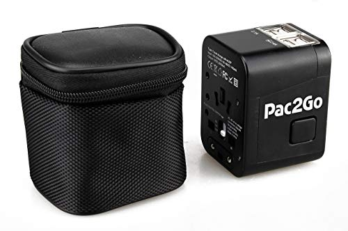 Pac2Go Universal Travel Adapter with Quad USB Charger - All-in-One Surge/Spike Protected Electrical Plug with Fast Charging USB...