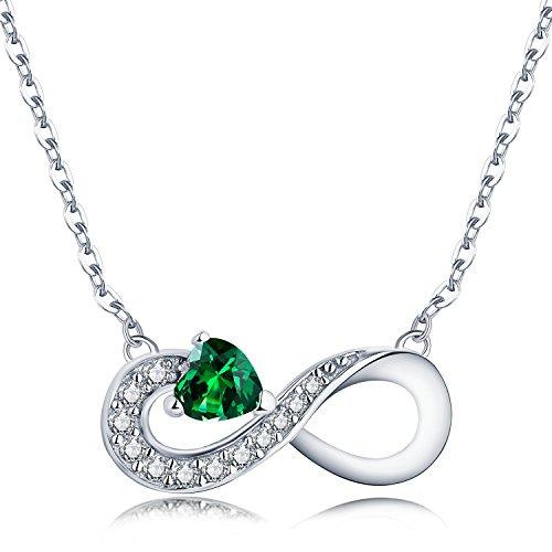 JO WISDOM Symbole Infini Pendentif Collier pour Femme en Argent 925/1000 Cœur Zirconium (Émeraude)…