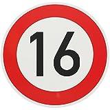 ORIGINAL Verkehrzeichen 16 KM/H Schild Nr. 250 (m. Sondertext) Verkehrsschild Straßenschild Straßenzeichen Metall auch Gebutrtstagschild zum 16. Geburtstag als 16km Geburtstagsschild 42 cm Metall