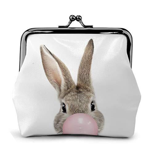 Bolsa de cambio de cuero con diseño de conejito de burbujas de goma de mascar monedero para cambio de beso con cierre de cierre mini cosméticos para mujeres y