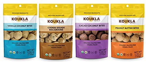 Koukla Delights – Variety Pack- Vanilla Coconut, Cacao Coconut, Cookie Dough Macaroons, Peanut Butter Bites, Organic, Gluten-Free, Non-GMO, Vegan, Paleo and Kosher Bites (Assorted), 5.29 oz (Pack of 4)