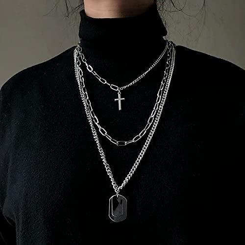 MIKUAB collarNueva Personalidad Cruz Cuadrada Metal Multicapa Hip Hop Cadena Larga Cool Simple Collar para Mujeres Hombres joyería Regalos