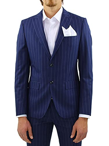 Ciabalù Abito Uomo Elegante Completo Slim Fit Blu Gessato Sartoriale (56, Numeric_56)