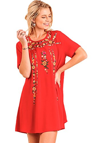 Umgee Women's Boho Chic Floral Embroidered Short Sleeve Dress (L/ChiliPowder)