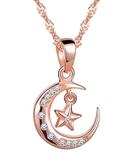 Unendlich U Elegant Mond Stern Damen Mädchen Halskette 925 Sterling Silber Zirkonia Anhänger Kette mit Anhänger, Rosegold