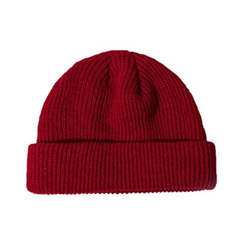 gulang-keng Sombrero de punto acanalado de invierno de las mujeres, casquillo corto de melón con puño casquillo de cráneo de color sólido, gorro holgado, 6 colores opcionales