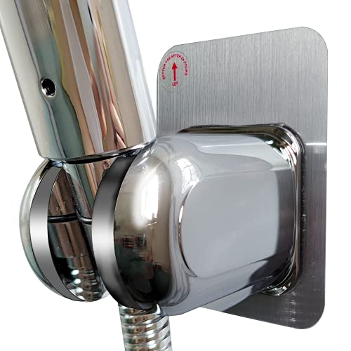 Crushmet Handbrause Halterung Ohne Bohren Super Power Kleber Brausehalter für Duschkopf, Badezimmer Badewanne, Wasserdicht,Verstellbar Duschhalterung Brausehalterung, Verchromt