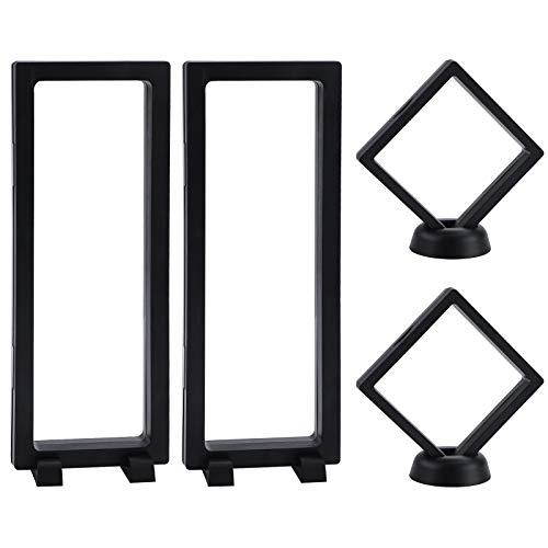 4 pièces support d'affichage de cadre flottant boîte d'affichage 3D avec base pour pièce bijoux collier boucle d'oreille médaillons pierres PET Suspension vitrine de bijoux
