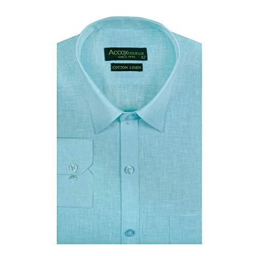 ACCOX Men's Full/Long Sleeves Formal Regular Fit Plain Cotton Linen Shirt(GO557)
