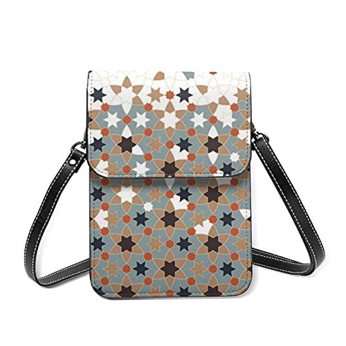 Damen Umhängetasche, kleine Schultertaschen, marokkanisches Vintage-Fliesen-Etui, Geldbörse mit Kartenhalter, Marokkanische Bordüre, geometrische Farbe, Einheitsgröße
