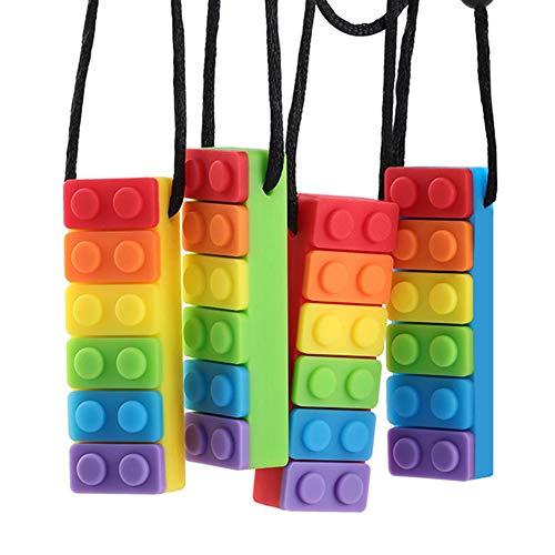 Zahnen Halskette Baby, Yuccer 4 Packung Silikon Beißring Babys Teething Necklace Silikon Kette für Autistische Kinder (Regenbogen Rot + Regenbogen Grün + Regenbogen Blau + Regenbogen Gelb)