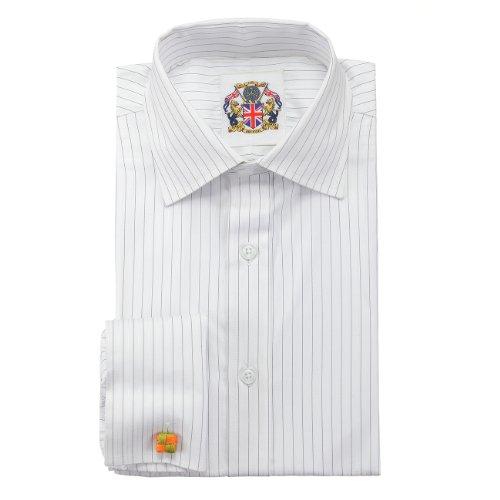 Janeo Men's Shirts Chemise à Manches Longues Classique rayée, Manchettes Simples ou Doubles Gris/Bleu/Marron Facile d'entretien, Prix Attractif et Emb