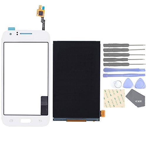 VEKIR Parti di Ricambio per telefoni cellulari Samsung Galaxy J1 J100F J100H J100M Touch Schermo Glass Panel+ Mostra Schermo LCD(White)