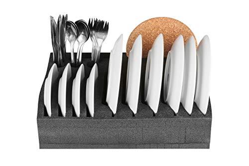 SCHAUMEX® Tellerhalter und Besteckhalter mit Platz für 12 Teller - kleine und große Teller auch Suppenteller - Für Camping, Wohnmobile, Wohnwagen und Boote - extrem leicht und robust -