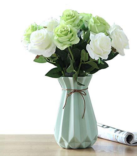 DIHAO Florero de cerámica Jarrones Multicolores Flores Planta hidropónica Colorida Oficina en casa Boda Azul 24cm