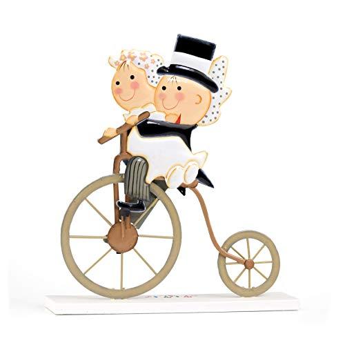 Mopec taartfiguur van metaal Pit&Pita op een oude fiets, 1 stuk, meerkleurig, 5,00 x 22,00 x 24,00 cm