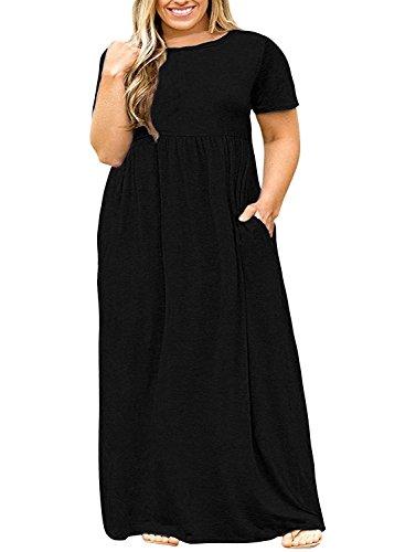 POSESHE Women Short Sleeve Loose Plain Casual Plus Size Long Maxi Dress with Pockets Black 3X-Large